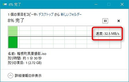 TS-212の転送速度は30MB/s。