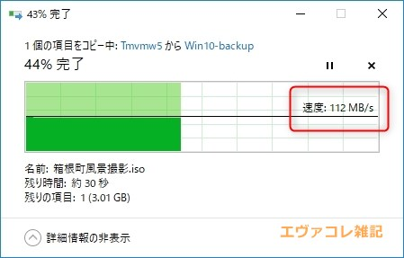 TS-228Aの転送速度は112MB/sを記録。